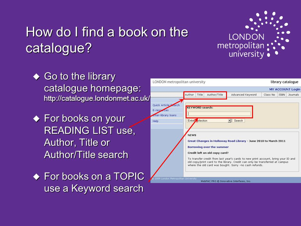 How do I find a book on the catalogue.