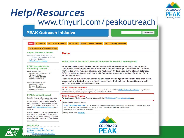 Help/Resources www.tinyurl.com/peakoutreach