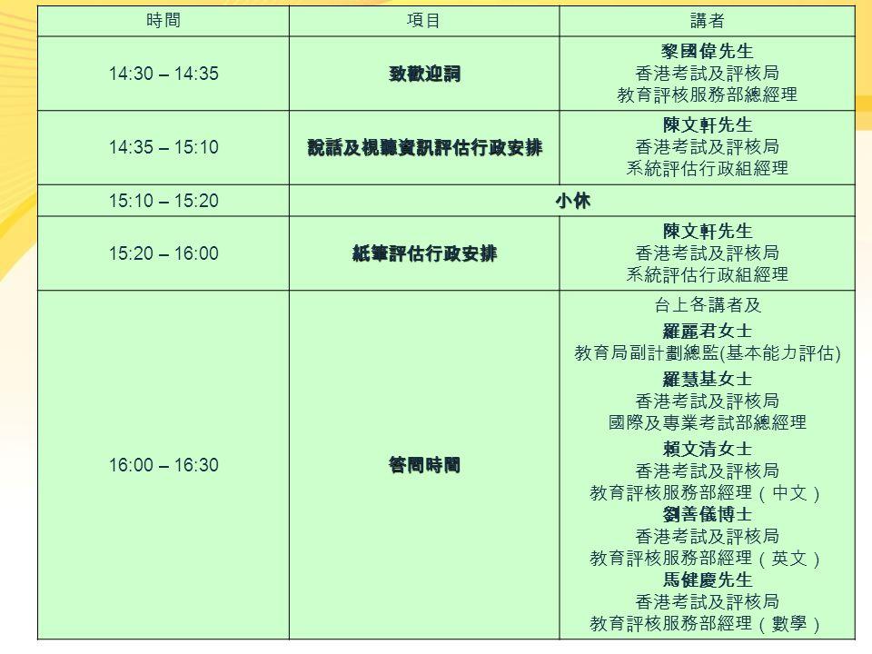 時間項目講者 14:30 – 14:35致歡迎詞 黎國偉先生 香港考試及評核局 教育評核服務部總經理 14:35 – 15:10說話及視聽資訊評估行政安排 陳文軒先生 香港考試及評核局 系統評估行政組經理 15:10 – 15:20小休 15:20 – 16:00紙筆評估行政安排 陳文軒先生 香港考試及評核局 系統評估行政組經理 16:00 – 16:30答問時間 台上各講者及 羅麗君女士 教育局副計劃總監 ( 基本能力評估 ) 羅慧基女士 香港考試及評核局 國際及專業考試部總經理 賴文清女士 香港考試及評核局 教育評核服務部經理(中文) 劉善儀博士 香港考試及評核局 教育評核服務部經理(英文) 馬健慶先生 香港考試及評核局 教育評核服務部經理(數學)