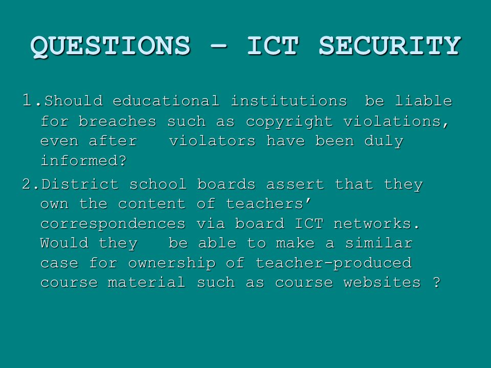 QUESTIONS – ICT SECURITY 1.