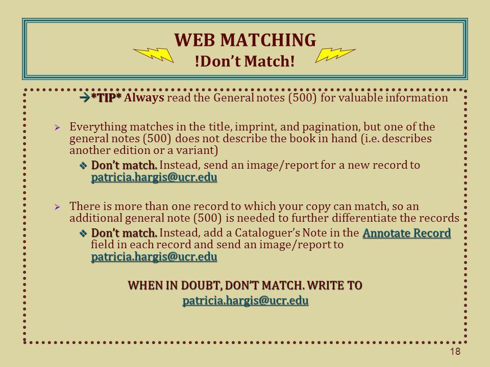 WEB MATCHING !Don't Match.