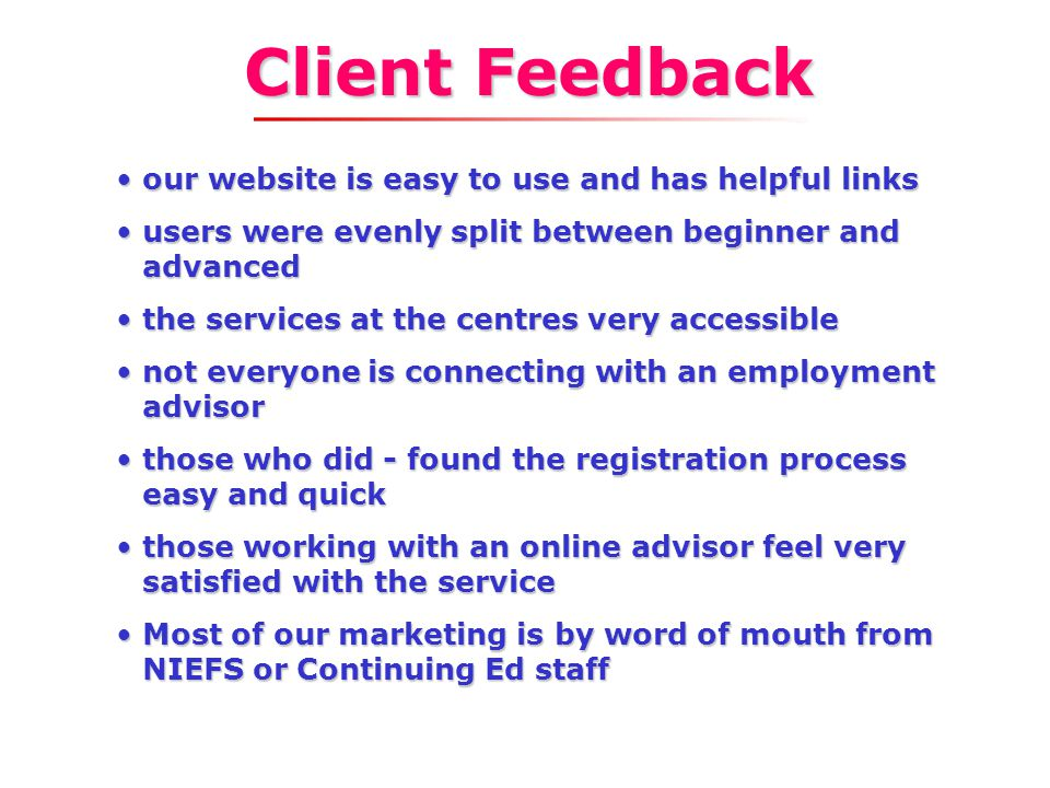 mechanism to gather and feature client success stories work relocation tutorial/services online admin page for centres refreshing the website Upcoming
