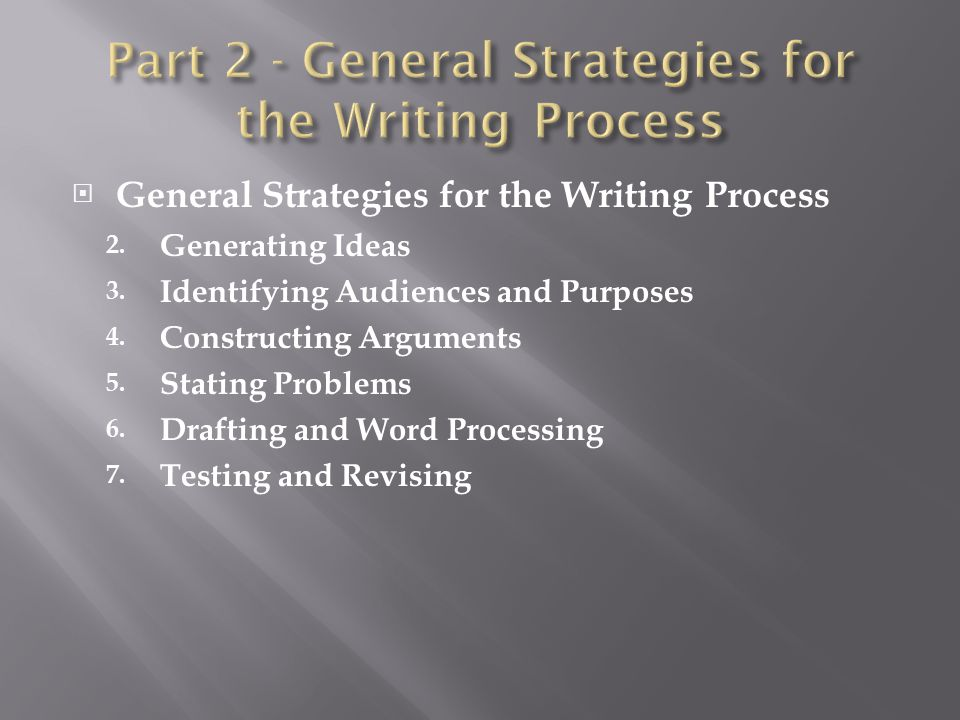  General Strategies for the Writing Process 2. Generating Ideas 3. Identifying Audiences and Purposes 4. Constructing Arguments 5. Stating Problems 6