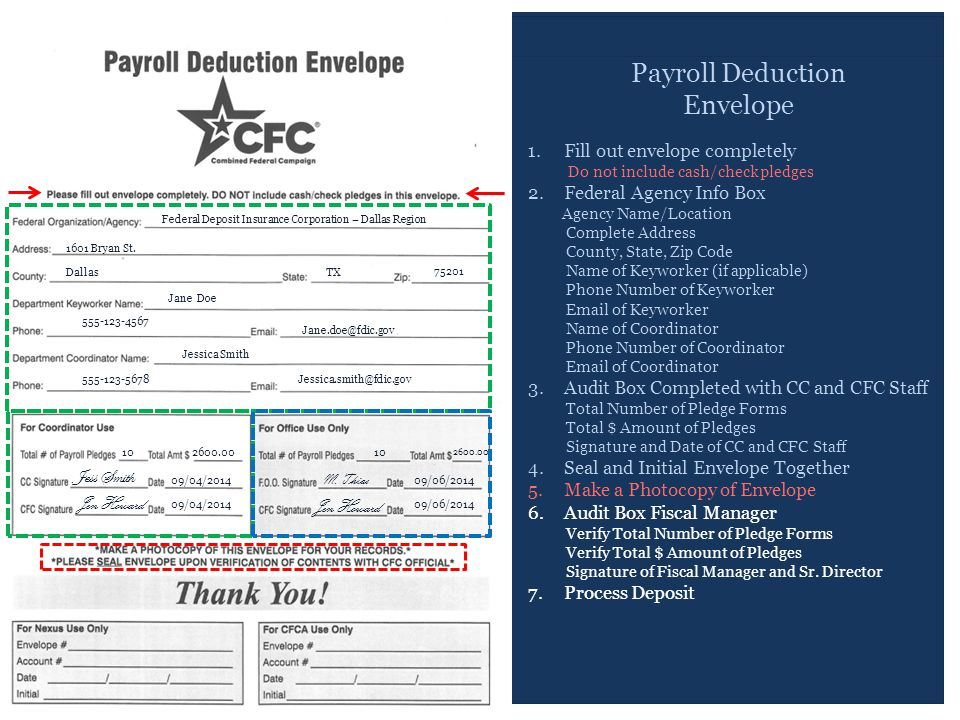 Payroll Deduction Envelope 1.Fill out envelope completely Do not include cash/check pledges 2.Federal Agency Info Box Agency Name/Location Complete Address County, State, Zip Code Name of Keyworker (if applicable) Phone Number of Keyworker Email of Keyworker Name of Coordinator Phone Number of Coordinator Email of Coordinator 3.Audit Box Completed with CC and CFC Staff Total Number of Pledge Forms Total $ Amount of Pledges Signature and Date of CC and CFC Staff 4.Seal and Initial Envelope Together 5.Make a Photocopy of Envelope 6.Audit Box Fiscal Manager Verify Total Number of Pledge Forms Verify Total $ Amount of Pledges Signature of Fiscal Manager and Sr.