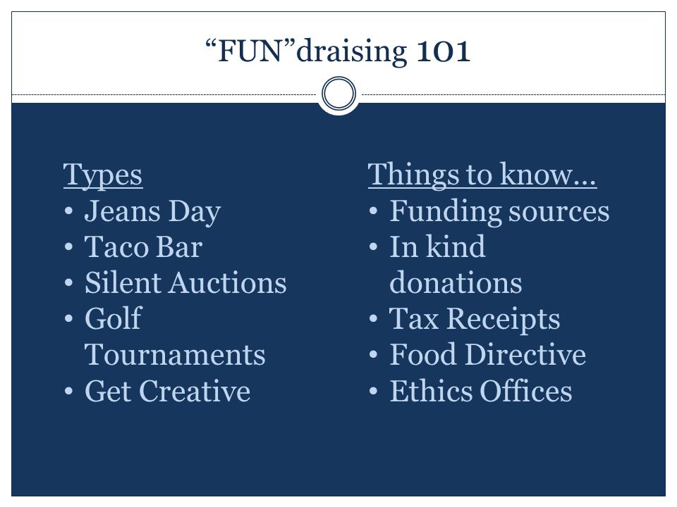 FUN draising 101 Types Jeans Day Taco Bar Silent Auctions Golf Tournaments Get Creative Things to know… Funding sources In kind donations Tax Receipts Food Directive Ethics Offices