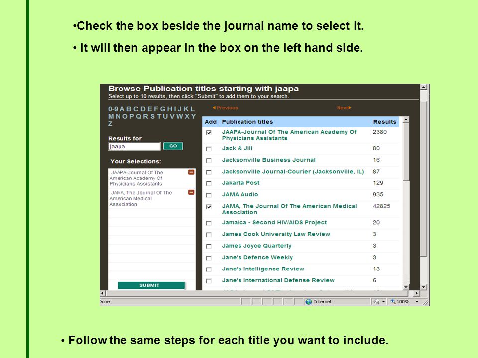 Check the box beside the journal name to select it.