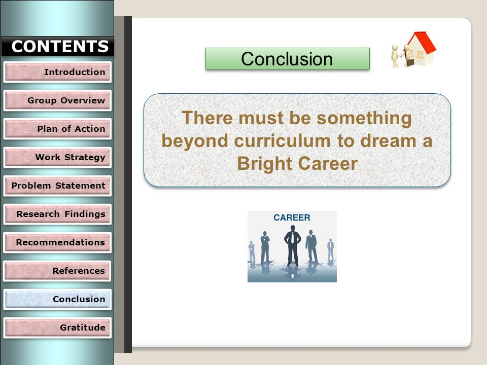 There must be something beyond curriculum to dream a Bright Career Conclusion Group Overview Plan of Action Work Strategy Problem Statement Research Findings CONTENTS Recommendations Gratitude Conclusion References Introduction