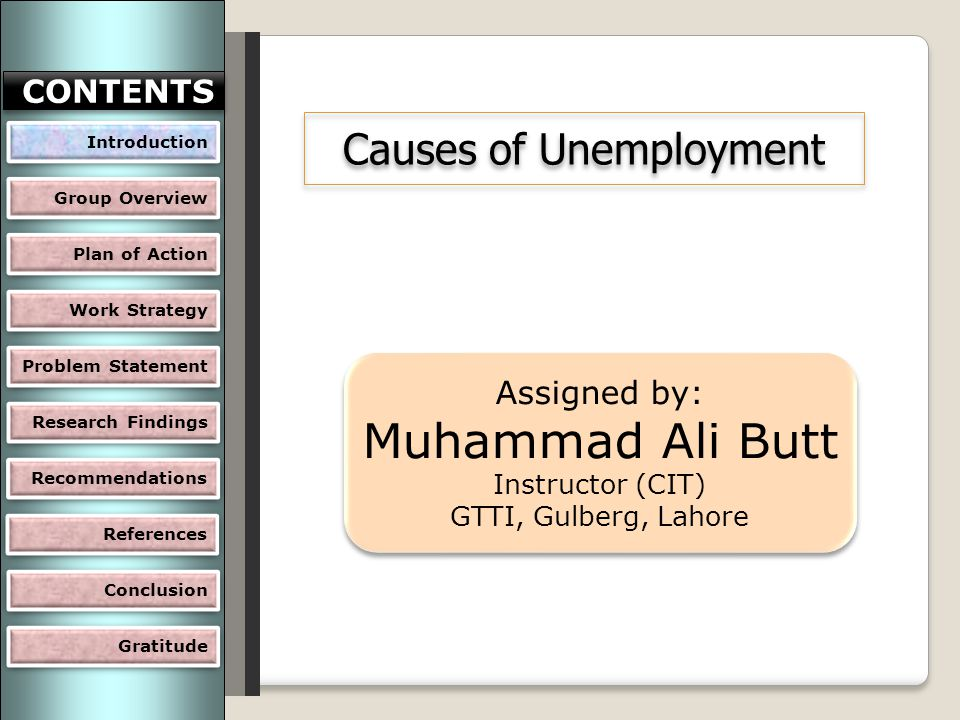 Causes of Unemployment Assigned by: Muhammad Ali Butt Instructor (CIT) GTTI, Gulberg, Lahore Assigned by: Muhammad Ali Butt Instructor (CIT) GTTI, Gulberg, Lahore Introduction Group Overview Plan of Action Work Strategy Problem Statement Research Findings CONTENTS Recommendations Gratitude Conclusion References