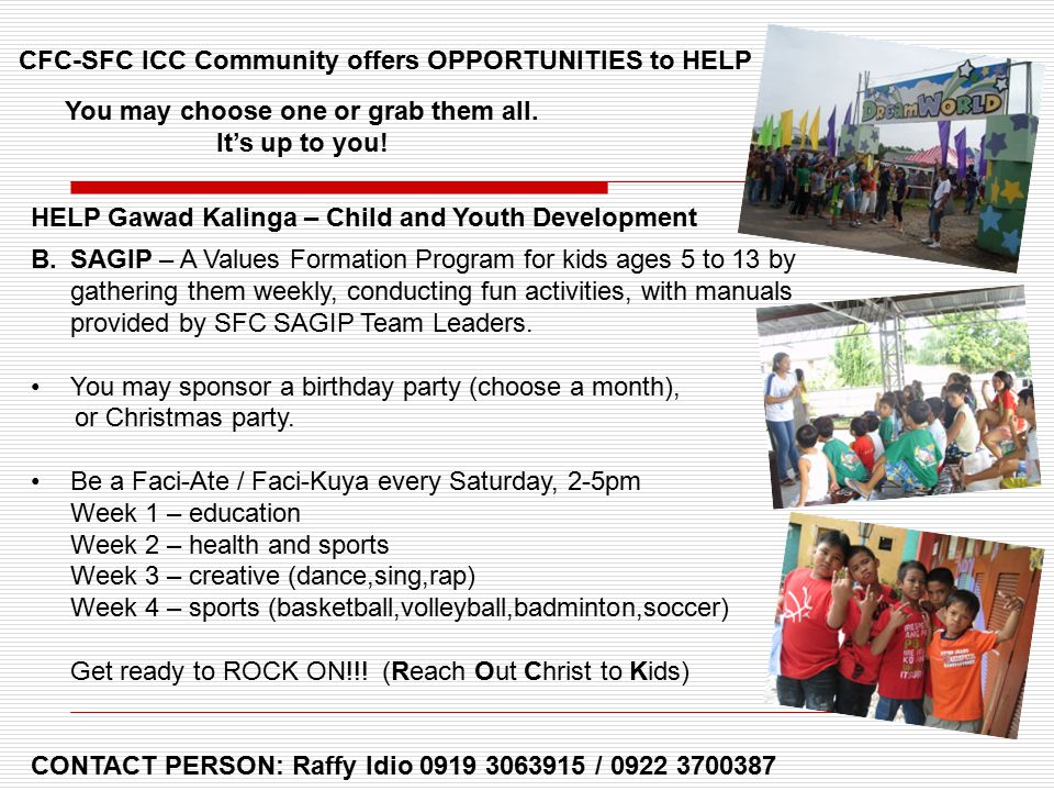 CFC-SFC ICC Community offers OPPORTUNITIES to HELP You may choose one or grab them all.