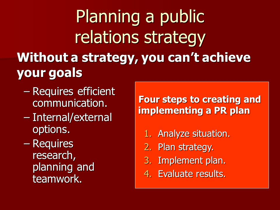 Four steps to creating and implementing a PR plan Planning a public relations strategy –Requires efficient communication.