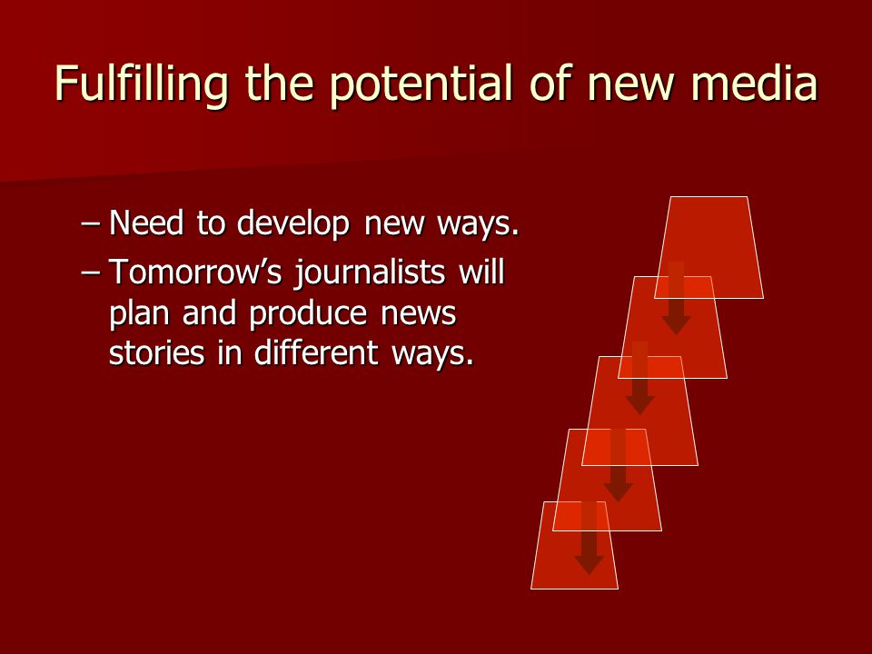 Fulfilling the potential of new media –Need to develop new ways.