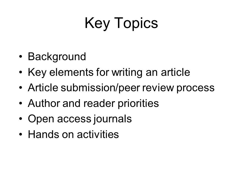 Title Describes the paper's content clearly and precisely including keywords Is the advertisement for the article Do not use abbreviations and jargon Search engines/indexing databases depend on the accuracy of the title - since they use the keywords to identify relevant articles