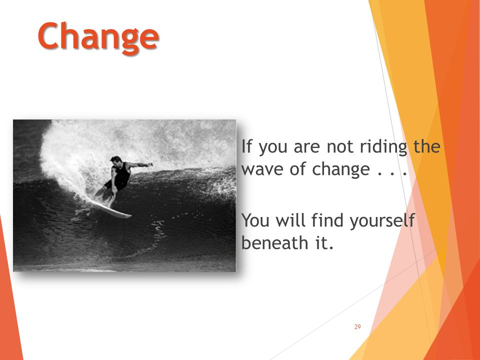 Change If you are not riding the wave of change... You will find yourself beneath it. 29