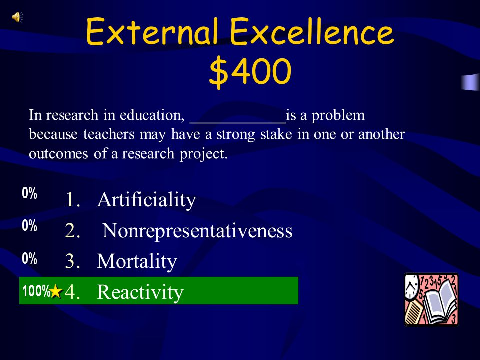 External Excellence $300 10 A study done on history in a average high school would have less problems with _____________than one done in a magnet school for performing arts.