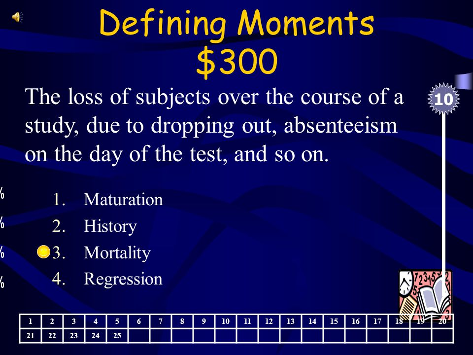 Defining Moments $200 A characteristic of a distribution of scores in which many scores are near the minimum 1.Testing effects 2.Floor effect 3.Ceiling effects 4.Statistical regression 10 123456789 11121314151617181920 2122232425