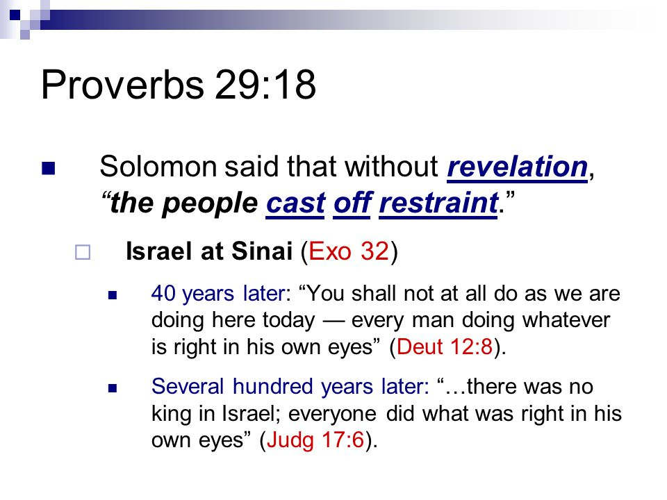 Proverbs 29:18 Solomon said that without revelation, the people cast off restraint.  Israel at Sinai (Exo 32) 40 years later: You shall not at all do as we are doing here today — every man doing whatever is right in his own eyes (Deut 12:8).