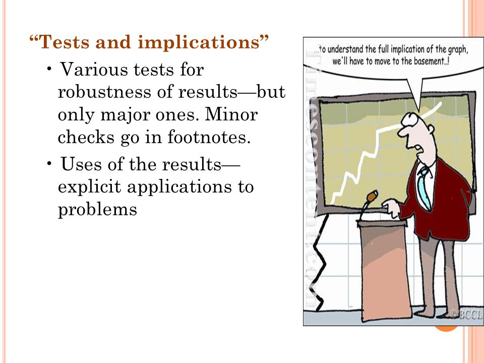 Tests and implications Various tests for robustness of results—but only major ones.