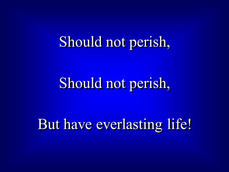 Should not perish, But have everlasting life! Should not perish, But have everlasting life!
