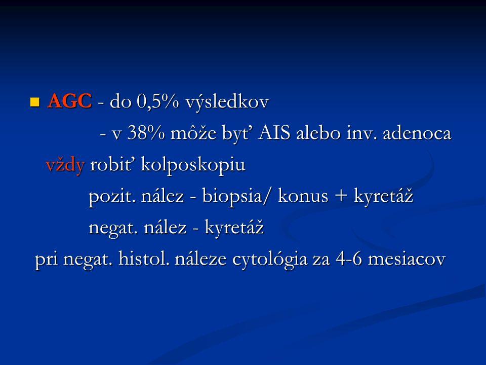 AGC - do 0,5% výsledkov AGC - do 0,5% výsledkov - v 38% môže byť AIS alebo inv. adenoca - v 38% môže byť AIS alebo inv. adenoca vždy robiť kolposkopiu