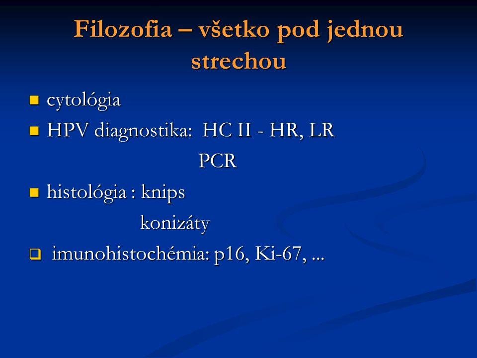 Filozofia – všetko pod jednou strechou cytológia cytológia HPV diagnostika: HC II - HR, LR HPV diagnostika: HC II - HR, LR PCR PCR histológia : knips histológia : knips konizáty konizáty  imunohistochémia: p16, Ki-67,...