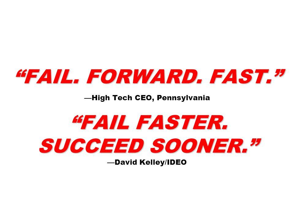 FAIL.FORWARD. FAST. FAIL FASTER. SUCCEED SOONER. FAIL.