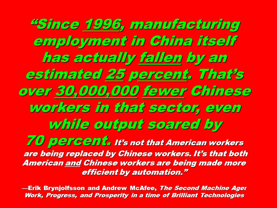 Since 1996, manufacturing employment in China itself has actually fallen by an estimated 25 percent.