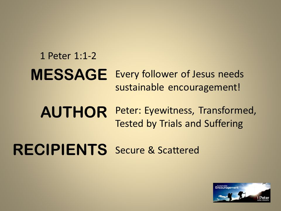 Every follower of Jesus needs sustainable encouragement.