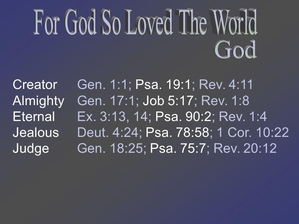 Creator Almighty Eternal Jealous Judge Gen. 1:1; Psa.