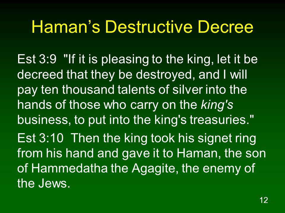 12 Haman's Destructive Decree Est 3:9