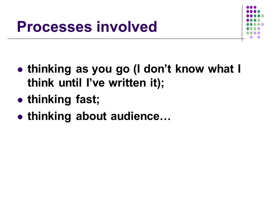 Processes involved thinking as you go (I don't know what I think until I've written it); thinking fast; thinking about audience…