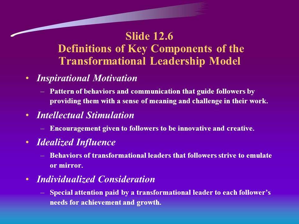 Slide 12.6 Definitions of Key Components of the Transformational Leadership Model Inspirational Motivation –Pattern of behaviors and communication that guide followers by providing them with a sense of meaning and challenge in their work.