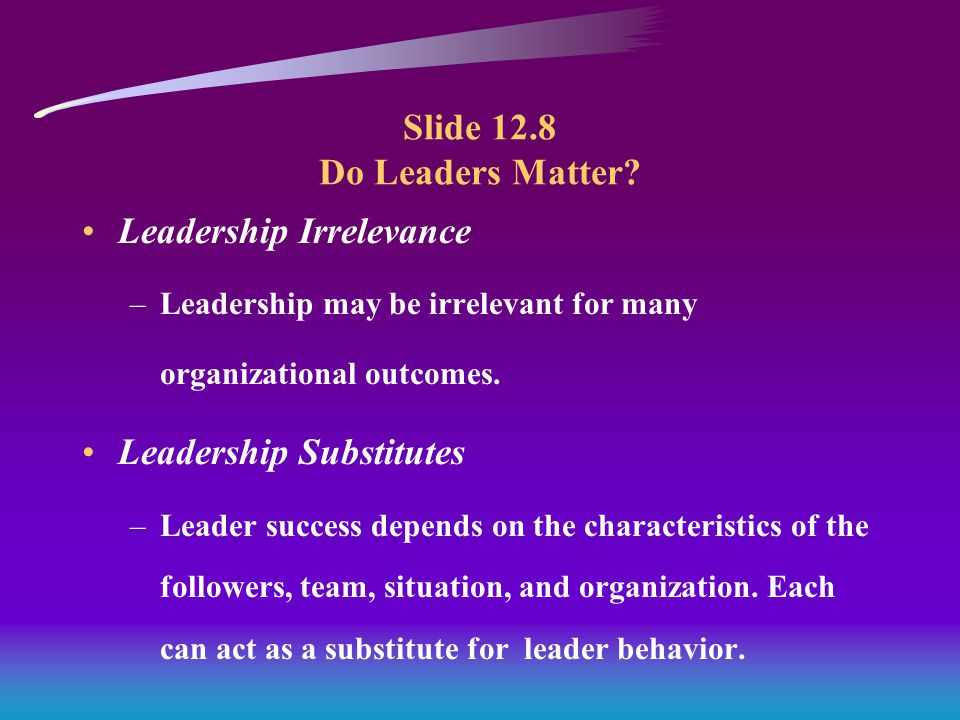 Slide 12.8 Do Leaders Matter.
