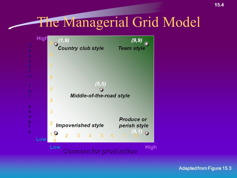 The Managerial Grid Model Adapted from Figure 15.3 Concern for production ConcernConcernforforpeoplepeopleConcernConcernforforpeoplepeople 1 2 3 4 5 6 7 8 9 987654321987654321 HighLow High Low (5,5) Middle-of-the-road style (9,9) Team style (9,1) Produce or perish style (1,1) Impoverished style (1,9) Country club style 15.4