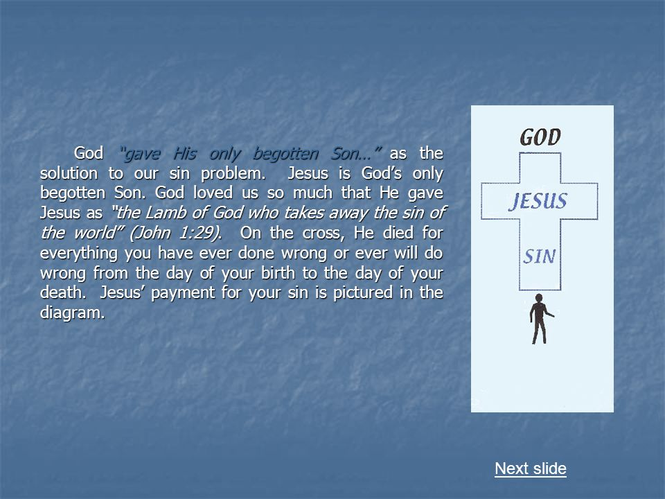 God gave His only begotten Son… as the solution to our sin problem.
