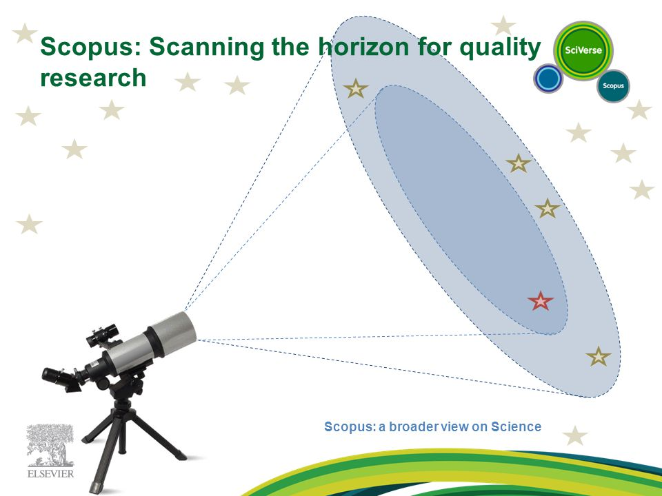 Scopus: Scanning the horizon for quality research Scopus: a broader view on Science