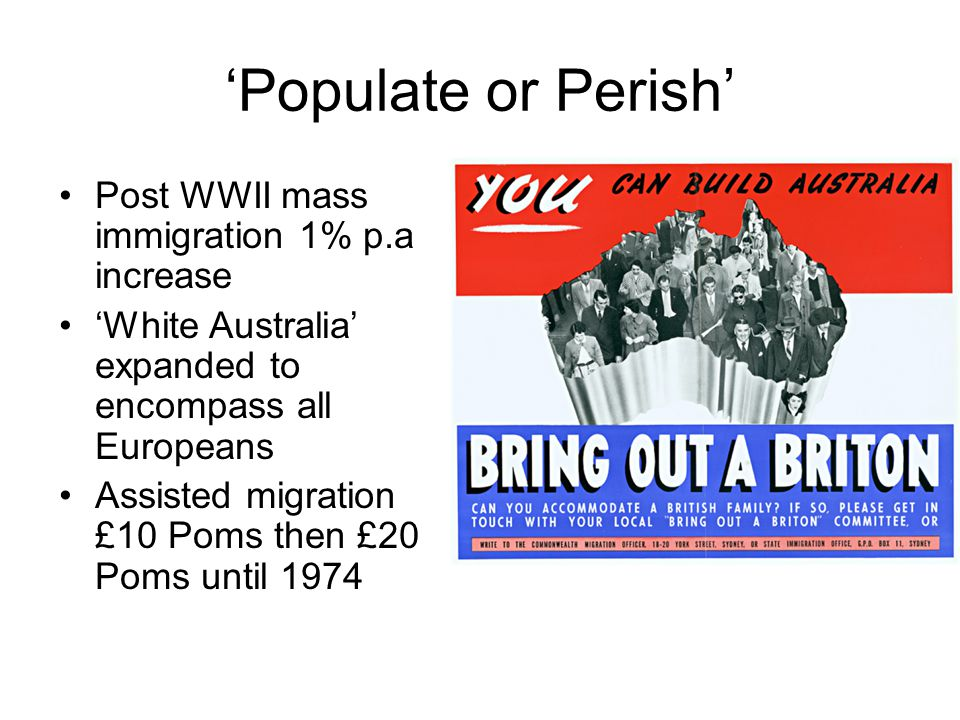 'Populate or Perish' Post WWII mass immigration 1% p.a increase 'White Australia' expanded to encompass all Europeans Assisted migration £10 Poms then