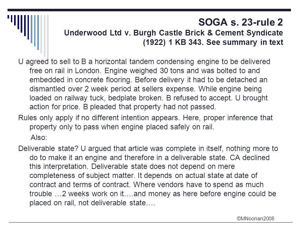 ©MNoonan2008 SOGA s. 23-rule 2 Underwood Ltd v.
