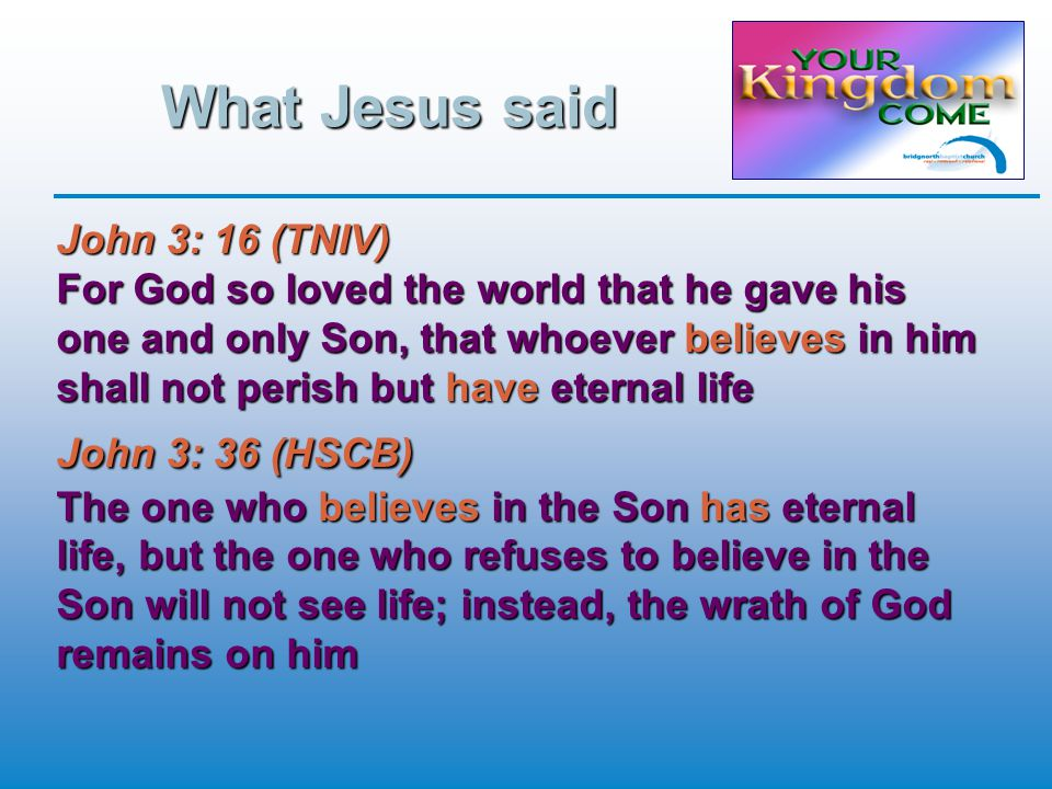 What Jesus said John 3: 16 (TNIV) For God so loved the world that he gave his one and only Son, that whoever believes in him shall not perish but have eternal life John 3: 36 (HSCB) The one who believes in the Son has eternal life, but the one who refuses to believe in the Son will not see life; instead, the wrath of God remains on him