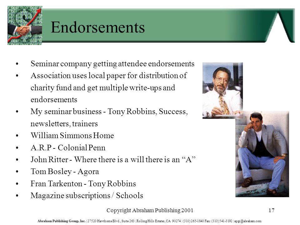 Copyright Abraham Publishing 200117 Abraham Publishing Group, Inc.