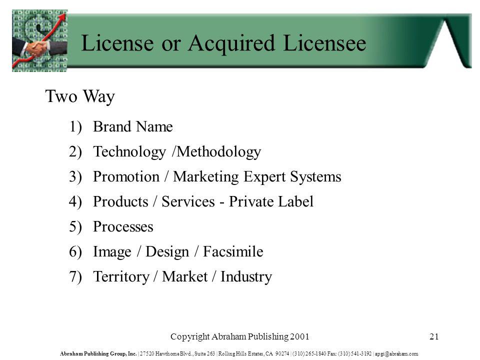 Copyright Abraham Publishing 200121 Abraham Publishing Group, Inc.