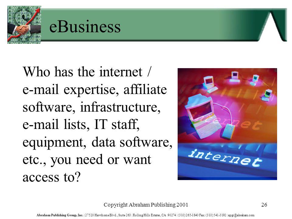 Copyright Abraham Publishing 200126 Abraham Publishing Group, Inc.