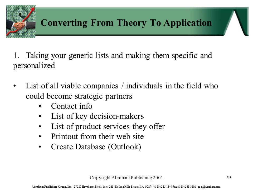 Copyright Abraham Publishing 200155 Abraham Publishing Group, Inc.