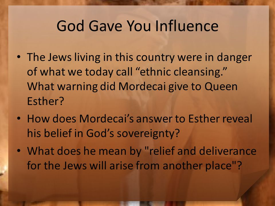 Influence for God's Sake Consider this statement.How is it the key to godly influence.