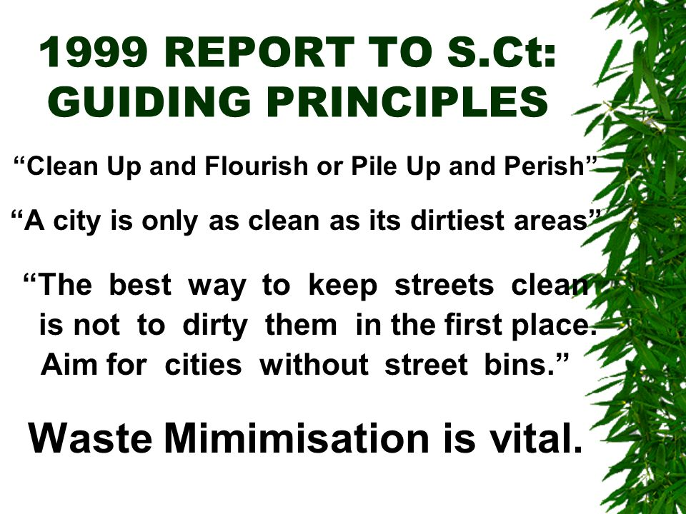 1999 REPORT TO S.Ct: GUIDING PRINCIPLES Clean Up and Flourish or Pile Up and Perish A city is only as clean as its dirtiest areas The best way to keep streets clean is not to dirty them in the first place.