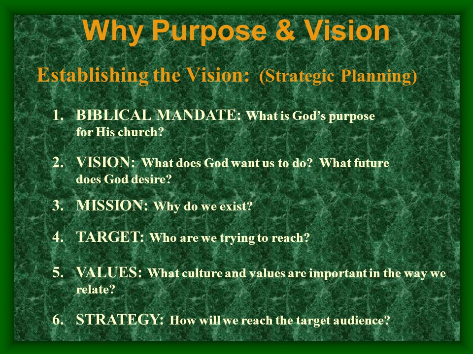 Why Purpose & Vision Establishing the Vision: (Strategic Planning) 1.BIBLICAL MANDATE: What is God's purpose for His church.