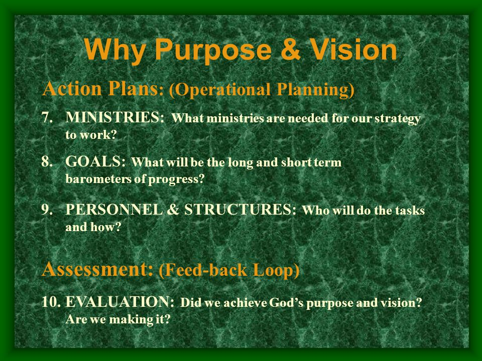 Biblical Mandate: Defining Your Church's Biblical Purpose Why Purpose & Vision God's purpose for His church needs to be studied, discussed and prayed about in your core groups, small groups, Bible Classes, leader meetings, visitation and sermons.
