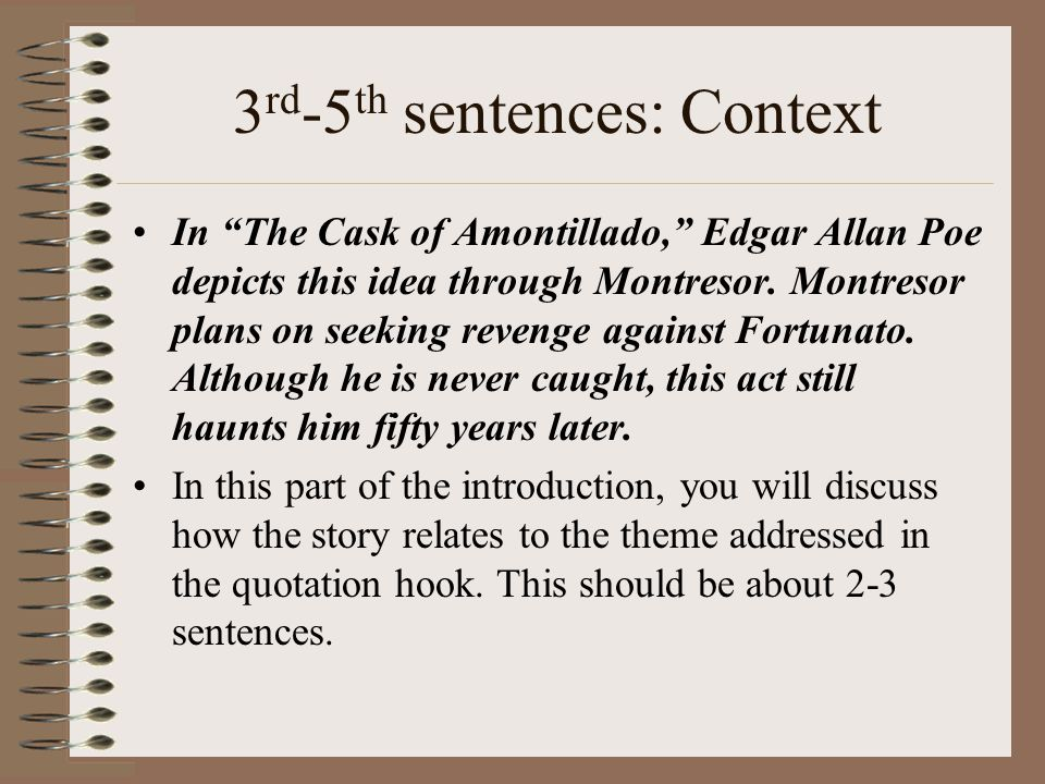 "the cask of amontillado 3 essay ""the cask of amontillado"" is a story that is exhilarating and keeps you as the reader on the edge of your seat the cask of amontillado essay sample pages: 3."