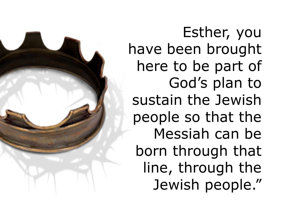Esther, you have been brought here to be part of God's plan to sustain the Jewish people so that the Messiah can be born through that line, through the Jewish people.