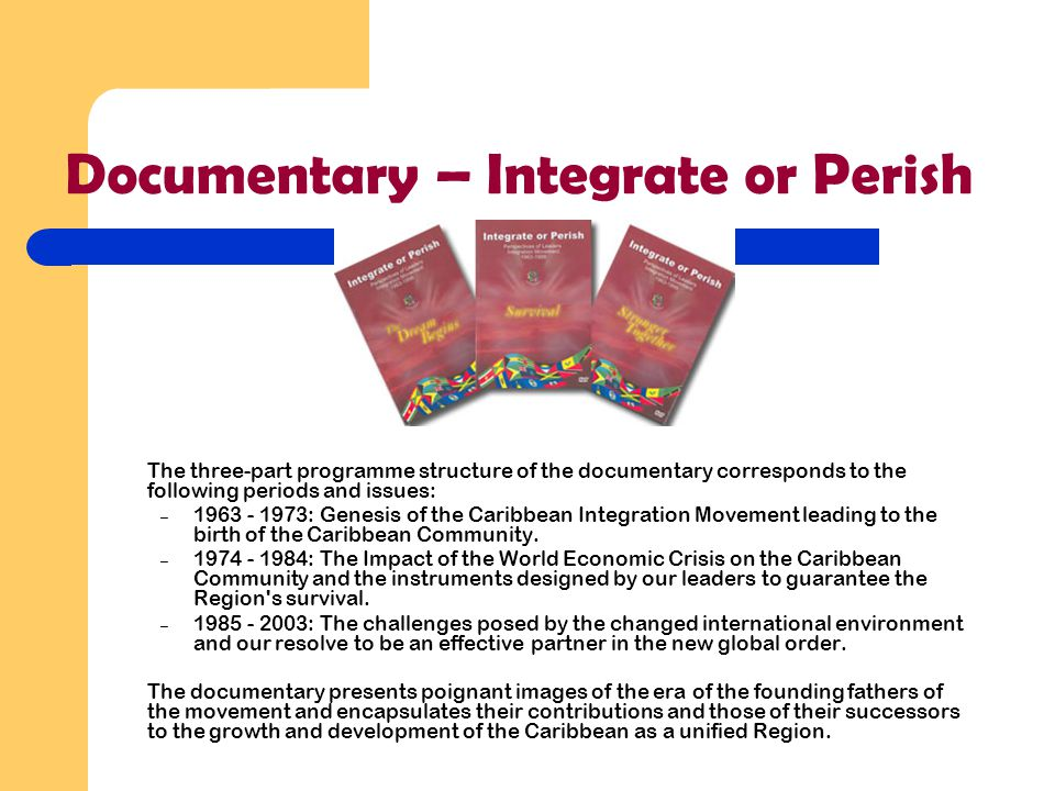 Documentary – Integrate or Perish The three-part programme structure of the documentary corresponds to the following periods and issues: – 1963 - 1973