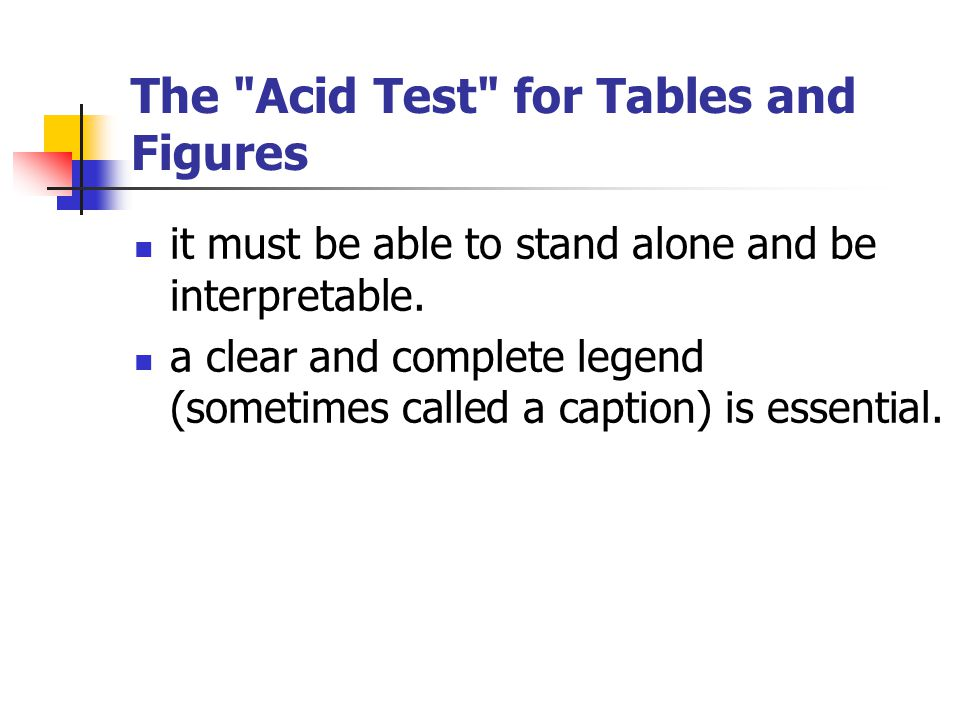 The Acid Test for Tables and Figures it must be able to stand alone and be interpretable.